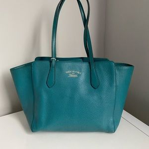 Gucci Leather Swing Tote (Rare Turquoise)